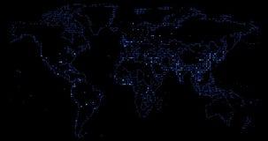 Leidde de blauwe gradiënt van de wereldkaart pixel, van effect beweging bij zwarte, zaken en de mededeling stock video