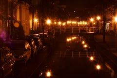 Leiden en los Países Bajos por noche Fotografía de archivo libre de regalías