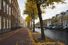 Leiden. Historical houses along a canal in Leiden, Holland Royalty Free Stock Photos