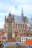 Leiden, Holland, Pieterskerk aerial church view Royalty Free Stock Photography