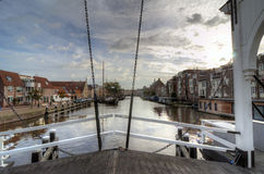 Leiden. Houses along a navigable canal in Leiden, Netherlands Royalty Free Stock Photography