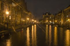 Leiden canal after dark royalty free stock photography