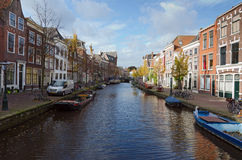 Leiden. NETHERLANDS - OCTOBER 23: Waterways and typical Dutch architecture on October 23, 2013 in , Netherlands.  is the 6th largest agglomeration in the Stock Photography