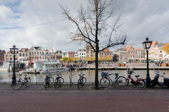 Leiden. NETHERLANDS - OCTOBER 23: Waterways and typical Dutch architecture on October 23, 2013 in , Netherlands.  is the 6th largest agglomeration in the Royalty Free Stock Photo