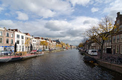 Leiden. NETHERLANDS - OCTOBER 23: Waterways and typical Dutch architecture on October 23, 2013 in , Netherlands.  is the 6th largest agglomeration in the Royalty Free Stock Photography