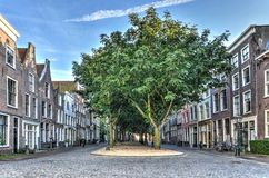 Symmetrical view of a former canal. Leiden, The Netherlands,September 28, 2015:A fromer canal called Hooglandse Kerkgracht, with trees and gravel where once was Stock Image