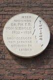 Leiden, Países Baixos - 17 de julho de 2018: Chapa de pedra que diz nesta imagens de stock royalty free