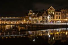Leiden przy nocą Obraz Stock