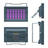 LEIDEN ultraviolette professionele stadiumprojector kleurde vlakke illust stock illustratie