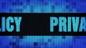 LEIDEN van Front Text Scrolling van het privacybeleid Muurcomité de Raad van het Vertoningsteken stock illustratie