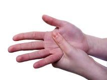 Leidende Schmerz der Frau in der Hand Stockfotografie