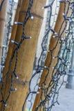 LEIDENE bollen op de bruine gloed van bamboepolen royalty-vrije stock afbeelding