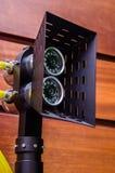 LEIDENE projector onderwaterdiebathyscaphe met video wordt gecombineerd camer stock foto's