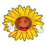 Leidenschaftliche Sonnenblumenkarikatur Stockfotos