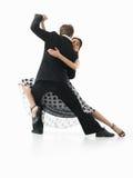 Leidenschaftliche Tanzenpaare auf weißem Hintergrund Stockfoto