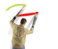 Leidenschaftlicher Künstler das Werden mit seinem Pinsel Stockbild