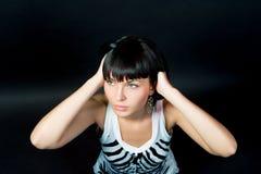 Leidenschaftliches kaukasisches Slavicmädchen, das oben schaut Lizenzfreie Stockbilder