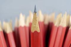 Leider van het leidings de succesvolle team, Rood potlood dat leiding vertegenwoordigt stock fotografie