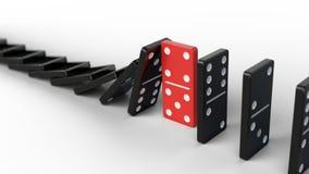 Leiding en groepswerkconcept - de Rode domino houdt dalend andere domino's tegen royalty-vrije illustratie