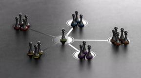 Leiding en Team Cohesiveness Over Black Background stock illustratie