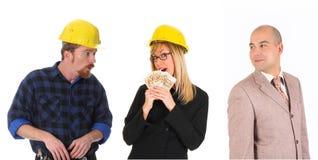 Leiding en team van arbeiders Royalty-vrije Stock Afbeeldingen