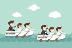 Leiding - zakenman roeiend team Stock Afbeelding