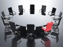 Leidingsconcept met rode bureaustoel Stock Foto