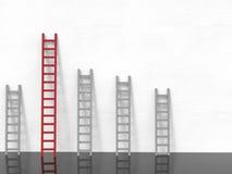 Leidingsconcept met rode ladder royalty-vrije stock afbeelding