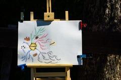 Leidingskenmerken op een tekenbord Stock Foto