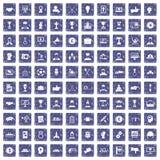 100 leidingspictogrammen geplaatst grunge saffier Royalty-vrije Stock Fotografie