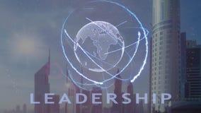 Leidingstekst met 3d hologram van de aarde tegen de achtergrond van de moderne metropool stock illustratie