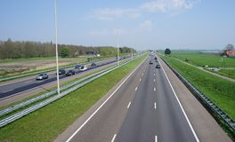 A4 motorway in the Netherlands. Leidschendam, the Netherlands. April 2018. The A4 motorway in the Netherlands that connects Amsterdam and The Hague royalty free stock photography
