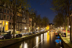 Leidsegracht in Amsterdam. Night shot of the Leidsegracht in Amsterdam, Netherlands in spring Stock Photography