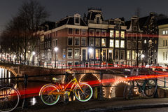 Leidsegracht en Keizersgracht-kanaalkruising in Amsterdam Royalty-vrije Stock Foto