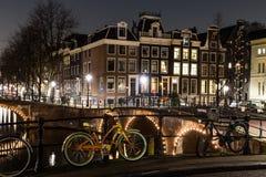 Leidsegracht i Keizersgracht kanałowy skrzyżowanie w Amsterdam Zdjęcia Stock
