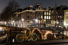 Leidsegracht and Keizersgracht canal intersection in Amsterdam Stock Photos
