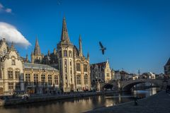 Leie river bank in Ghent,Belgium,Europe on a bright sunny day stock photo