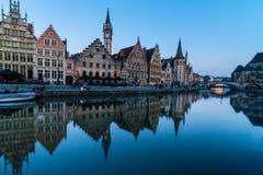 Leie river bank in Ghent, Belgium, Europe. Stock Images