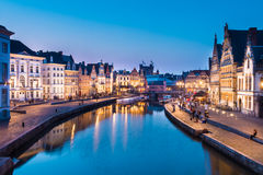 Leie river bank in Ghent, Belgium, Europe. Stock Image