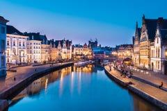 Leie river bank in Ghent, Belgium, Europe. Stock Image