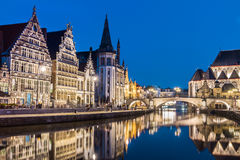 Leie river bank in Ghent, Belgium, Europe. Stock Images