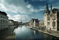 Leie river in Ghent town Stock Images