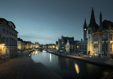 Leie river in Ghent town Royalty Free Stock Photography