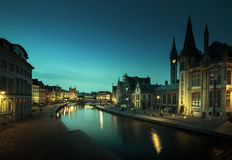 Leie river in Ghent town Stock Photo