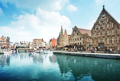 Leie river in Ghent town, Belgium Royalty Free Stock Images