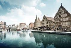 Leie river in Ghent town, Belgium Stock Photos