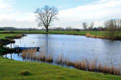 The Leie river (Lys) in Astene, Belgium stock photos