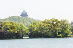 Leifeng pagoda and Su causeway Stock Images