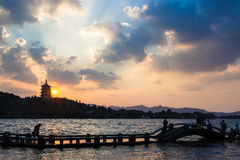 Leifeng Tower, sunset Royalty Free Stock Photos