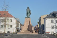 Leifur Eiricksson statue and hotel Stock Image
